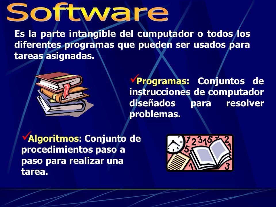 Software Es la parte intangible del cumputador o todos los diferentes programas que pueden ser usados para tareas asignadas.