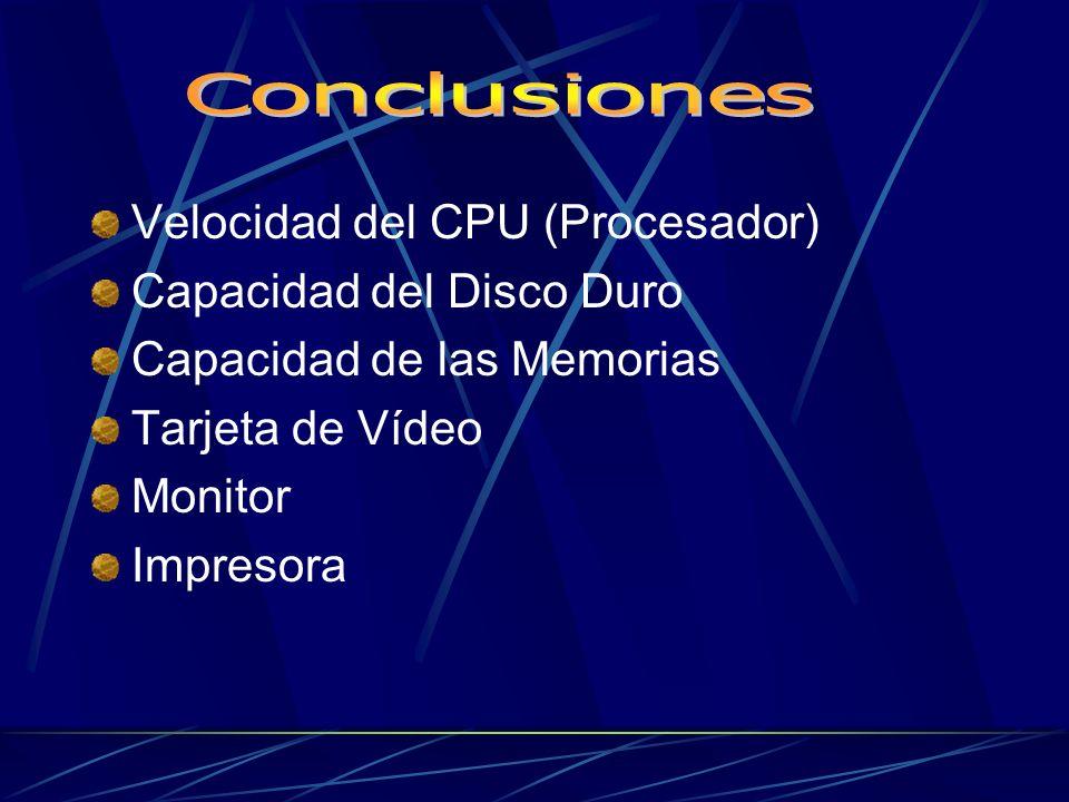 Velocidad del CPU (Procesador) Capacidad del Disco Duro