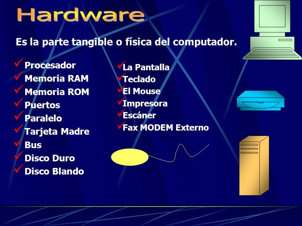 Hardware Es la parte tangible o física del computador. Procesador