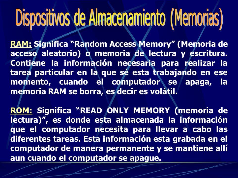Dispositivos de Almacenamiento (Memorias)