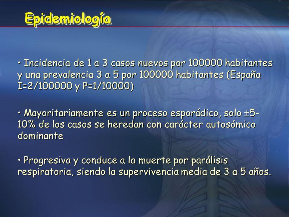Epidemiología Incidencia de 1 a 3 casos nuevos por 100000 habitantes y una prevalencia 3 a 5 por 100000 habitantes (España I=2/100000 y P=1/10000)