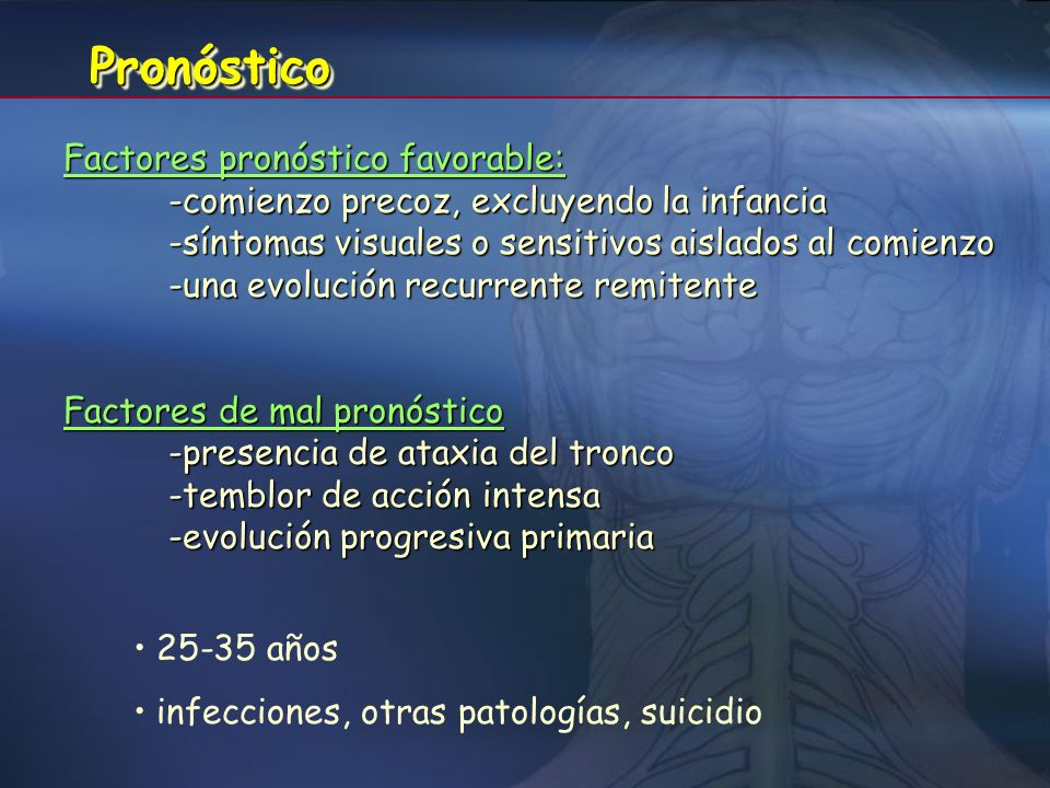 Pronóstico Factores pronóstico favorable: