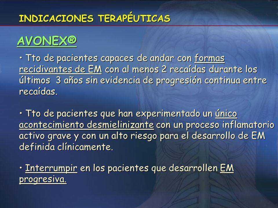 AVONEX® INDICACIONES TERAPÉUTICAS