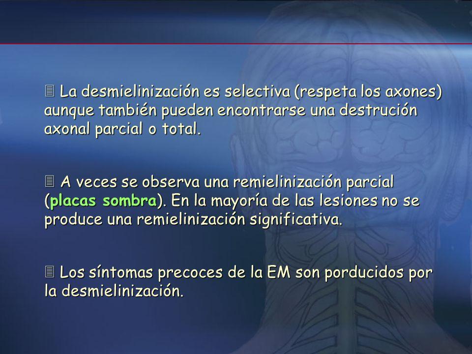  La desmielinización es selectiva (respeta los axones) aunque también pueden encontrarse una destrución axonal parcial o total.