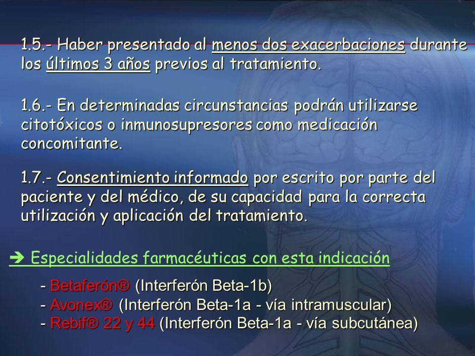 1.5.- Haber presentado al menos dos exacerbaciones durante los últimos 3 años previos al tratamiento.