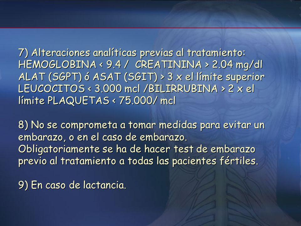7) Alteraciones analíticas previas al tratamiento: