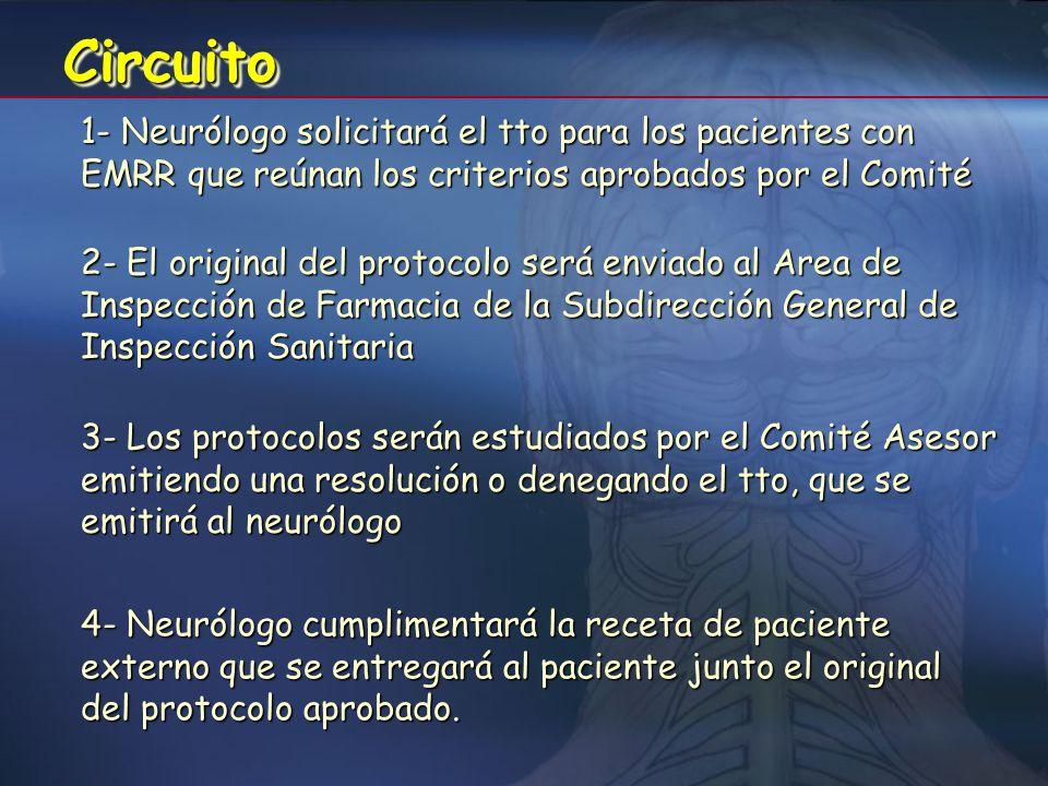 Circuito 1- Neurólogo solicitará el tto para los pacientes con EMRR que reúnan los criterios aprobados por el Comité.