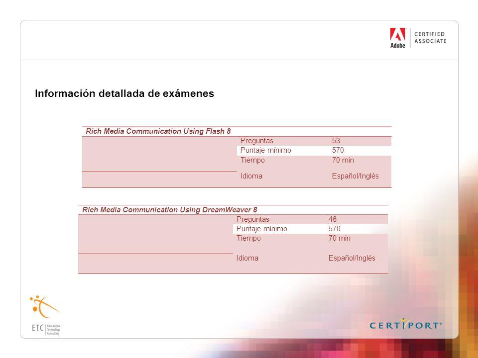 Información detallada de exámenes