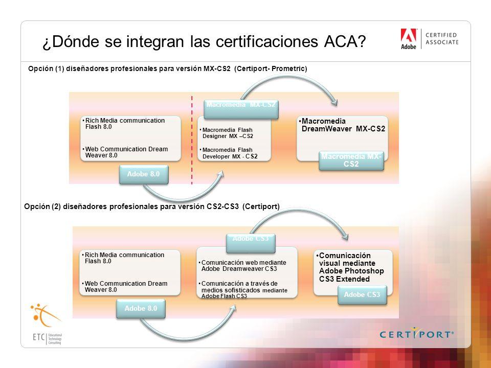 ¿Dónde se integran las certificaciones ACA