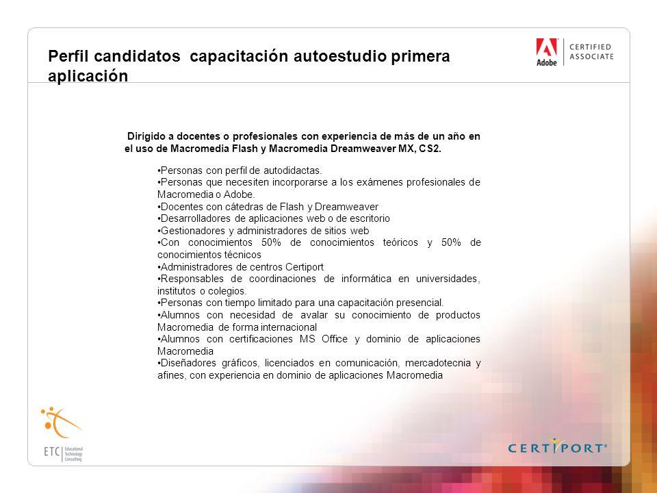 Perfil candidatos capacitación autoestudio primera aplicación