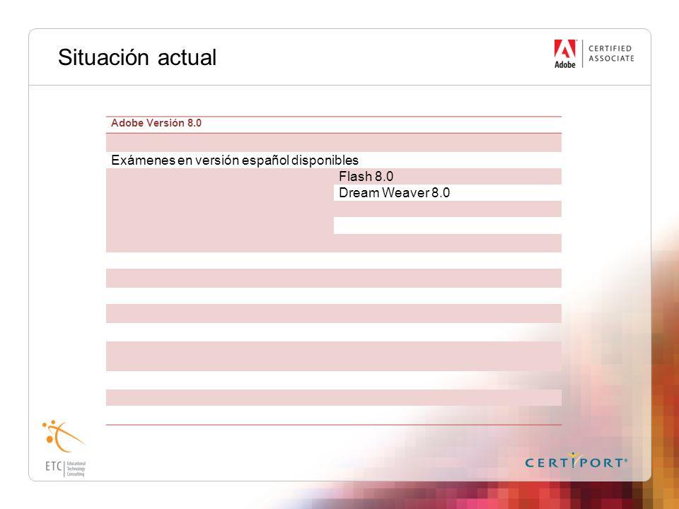 Situación actual Exámenes en versión español disponibles Flash 8.0