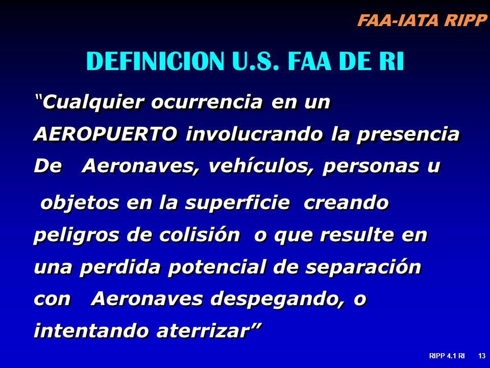 DEFINICION U.S. FAA DE RI Cualquier ocurrencia en un AEROPUERTO involucrando la presencia De Aeronaves, vehículos, personas u.