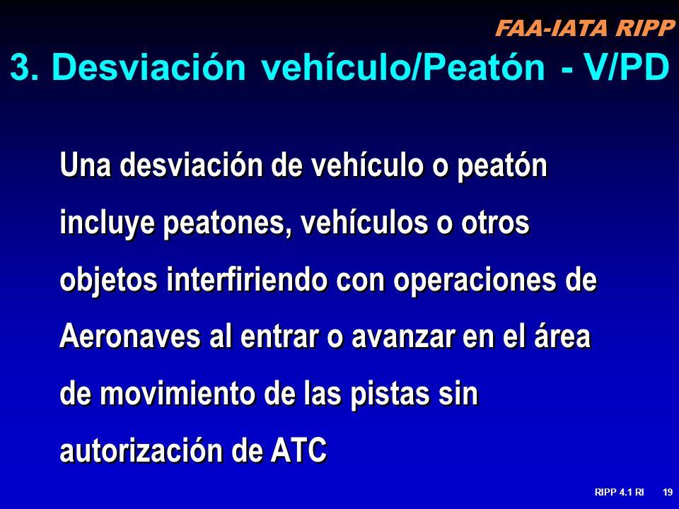 3. Desviación vehículo/Peatón - V/PD