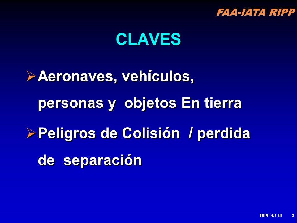 CLAVES Aeronaves, vehículos, personas y objetos En tierra