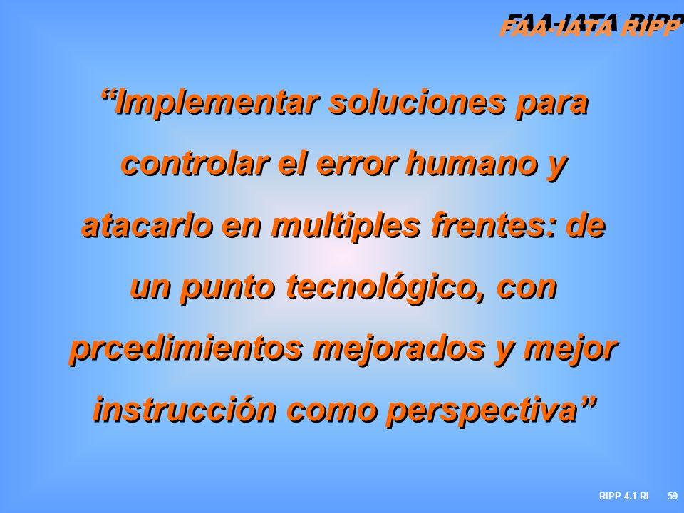 Implementar soluciones para controlar el error humano y atacarlo en multiples frentes: de un punto tecnológico, con prcedimientos mejorados y mejor instrucción como perspectiva