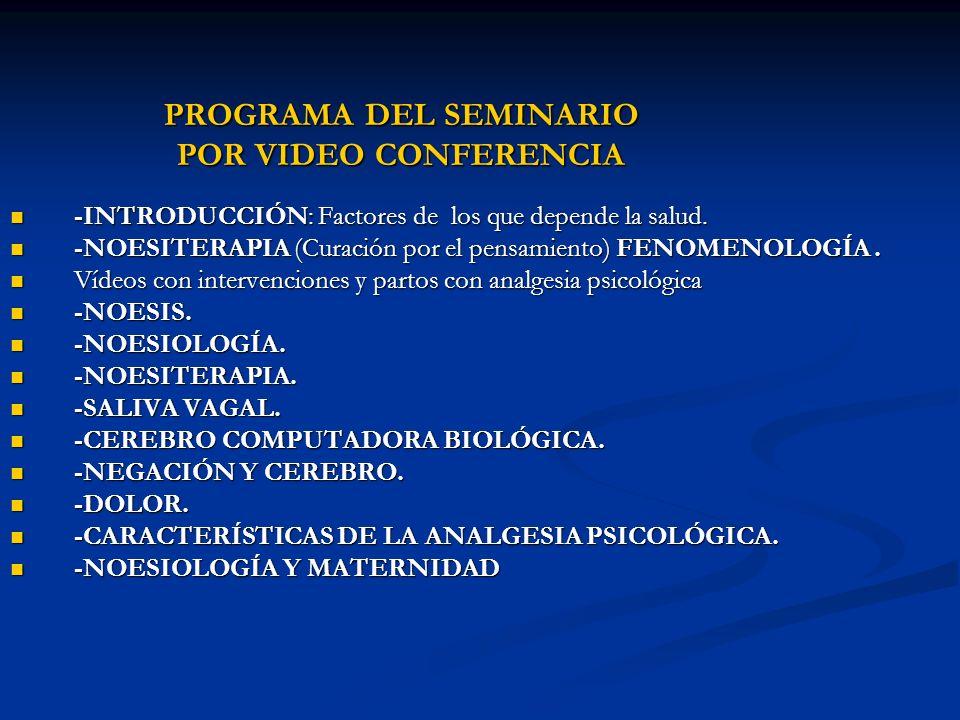 PROGRAMA DEL SEMINARIO POR VIDEO CONFERENCIA