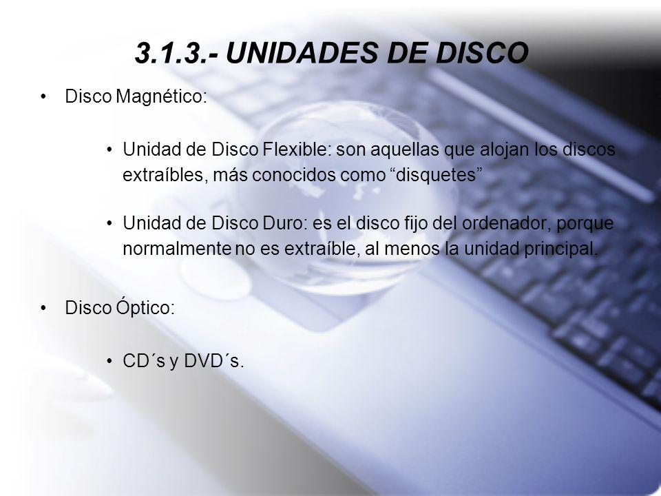 3.1.3.- UNIDADES DE DISCO Disco Magnético: