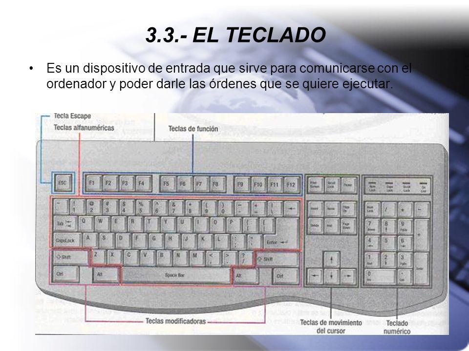 3.3.- EL TECLADOEs un dispositivo de entrada que sirve para comunicarse con el ordenador y poder darle las órdenes que se quiere ejecutar.