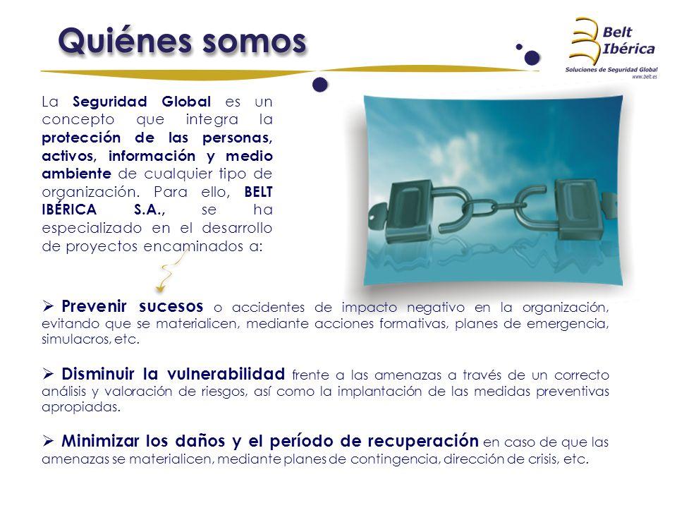 La Seguridad Global es un concepto que integra la protección de las personas, activos, información y medio ambiente de cualquier tipo de organización. Para ello, BELT IBÉRICA S.A., se ha especializado en el desarrollo de proyectos encaminados a:
