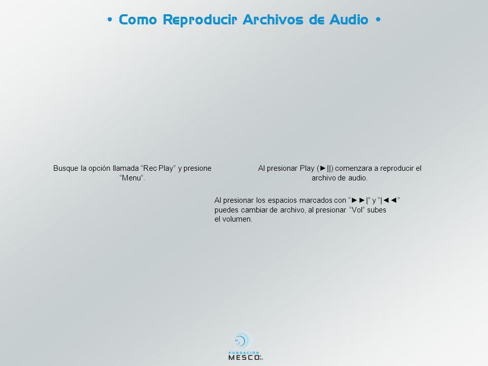 • Como Reproducir Archivos de Audio •