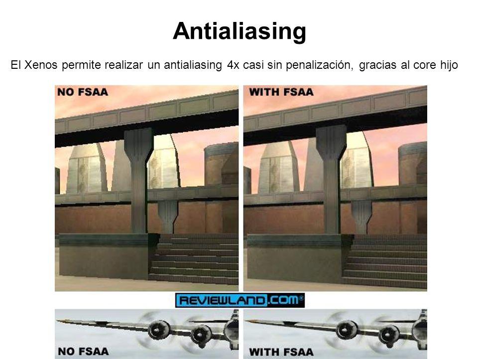 Antialiasing El Xenos permite realizar un antialiasing 4x casi sin penalización, gracias al core hijo.