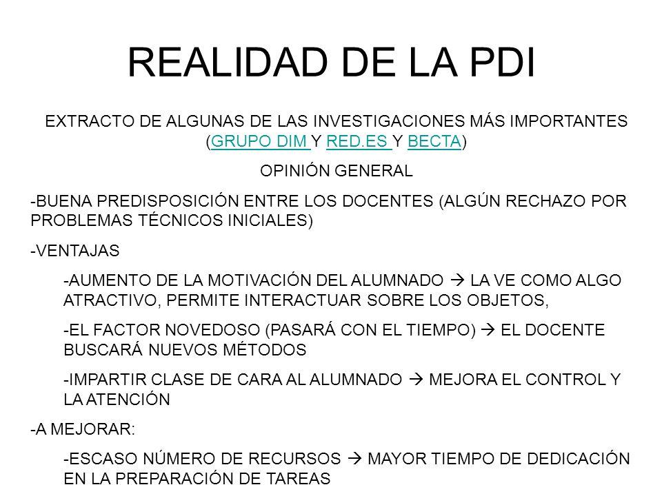 REALIDAD DE LA PDI EXTRACTO DE ALGUNAS DE LAS INVESTIGACIONES MÁS IMPORTANTES (GRUPO DIM Y RED.ES Y BECTA)