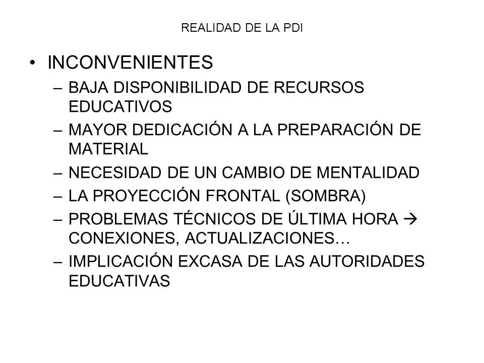 INCONVENIENTES BAJA DISPONIBILIDAD DE RECURSOS EDUCATIVOS