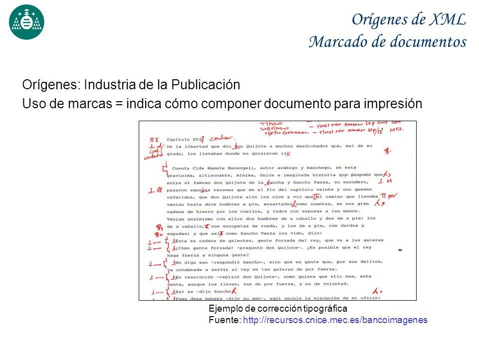 Orígenes de XML Marcado de documentos