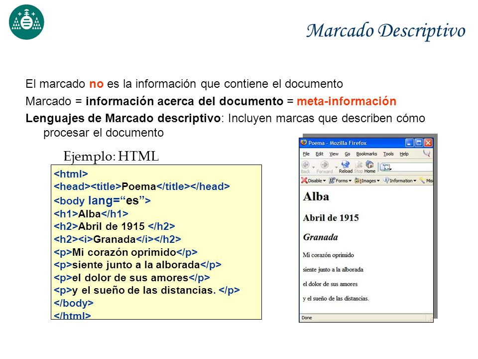 Marcado Descriptivo Ejemplo: HTML