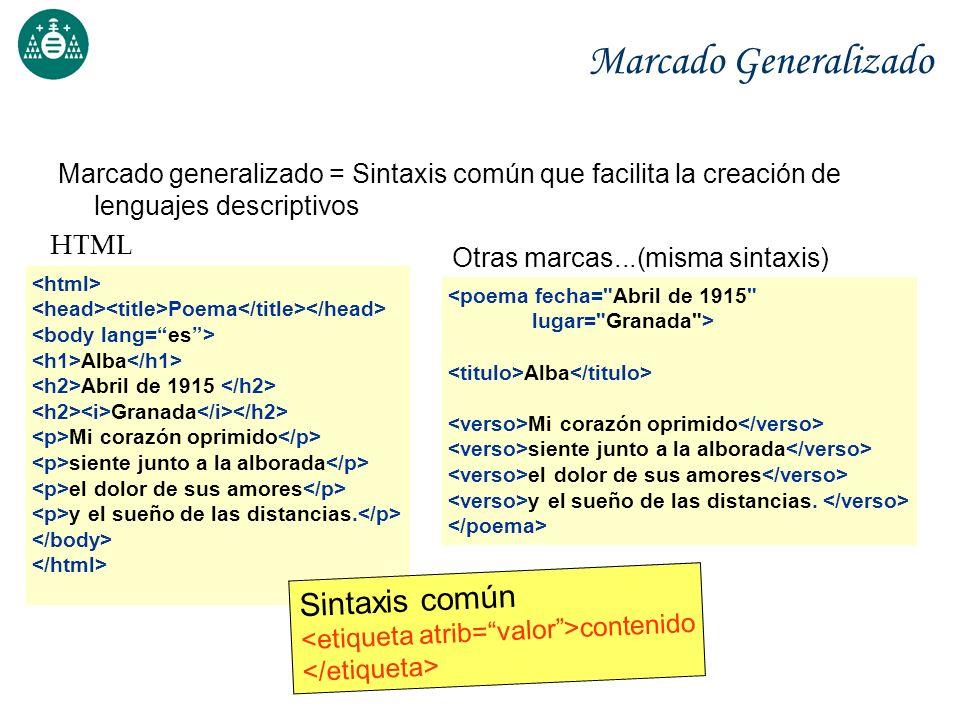 Marcado Generalizado Sintaxis común