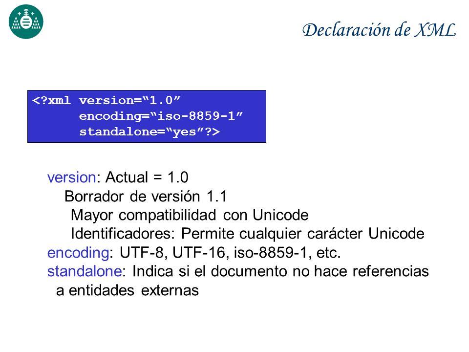 Declaración de XML version: Actual = 1.0 Borrador de versión 1.1