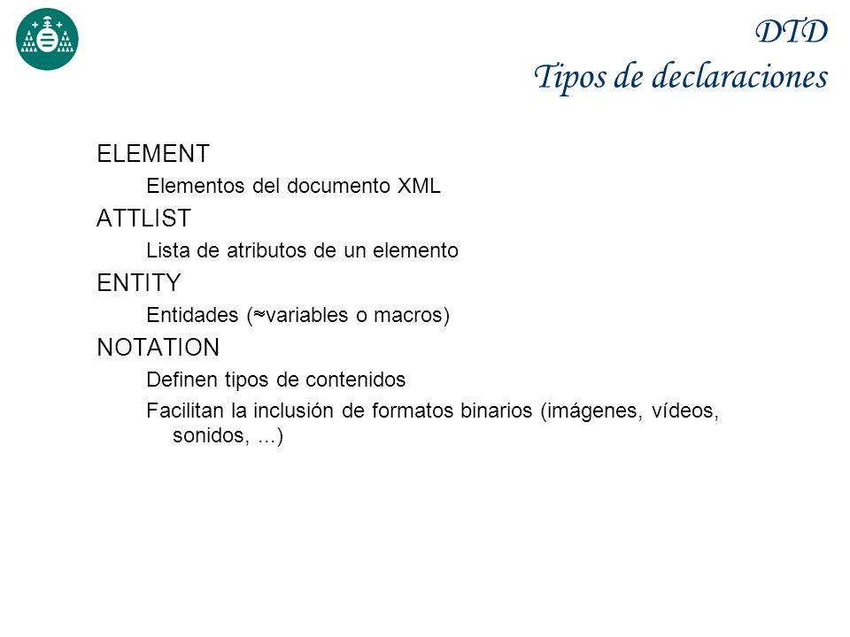 DTD Tipos de declaraciones