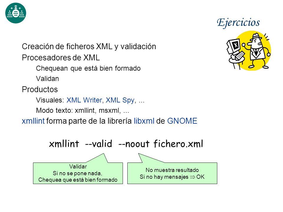Ejercicios xmllint --valid --noout fichero.xml