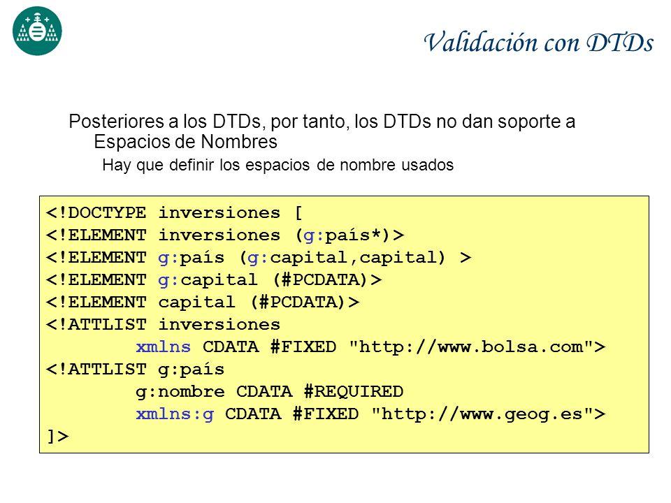 Validación con DTDs Posteriores a los DTDs, por tanto, los DTDs no dan soporte a Espacios de Nombres.
