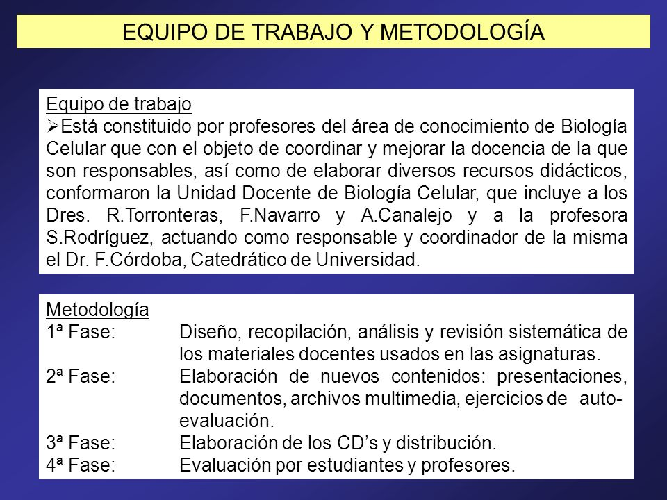 EQUIPO DE TRABAJO Y METODOLOGÍA