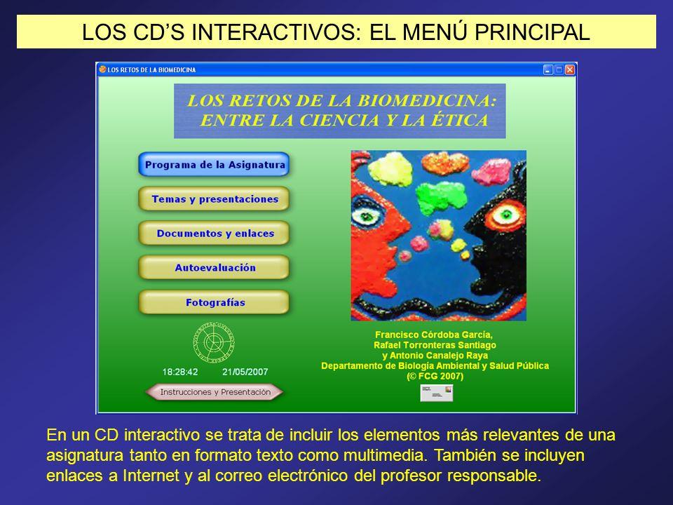 LOS CD'S INTERACTIVOS: EL MENÚ PRINCIPAL