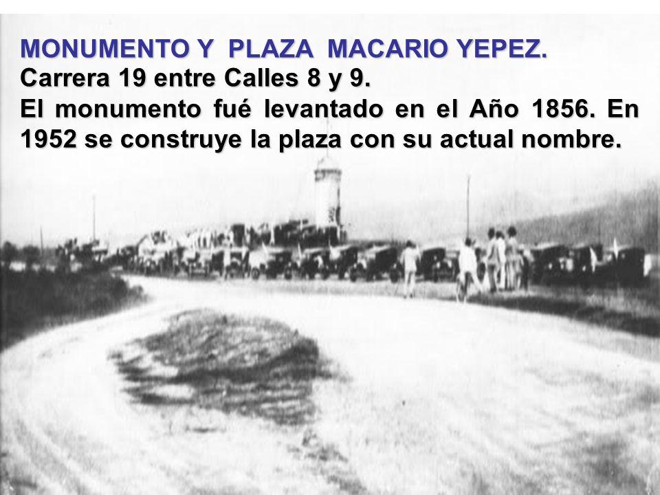 MONUMENTO Y PLAZA MACARIO YEPEZ.