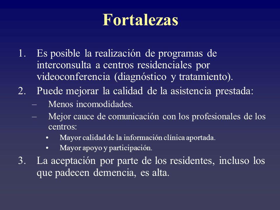 Fortalezas Es posible la realización de programas de interconsulta a centros residenciales por videoconferencia (diagnóstico y tratamiento).