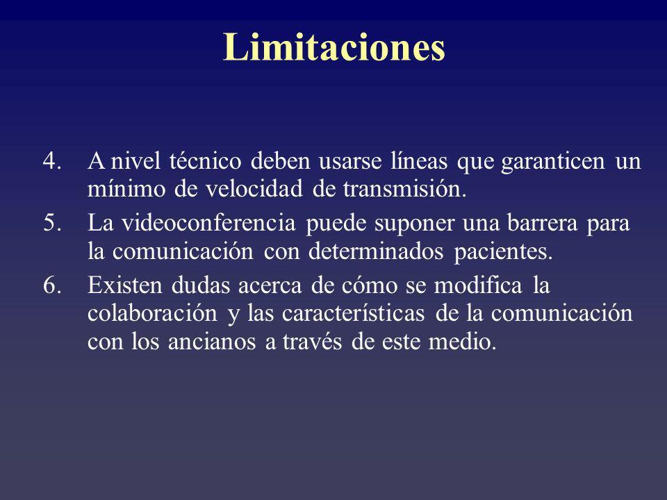 Limitaciones A nivel técnico deben usarse líneas que garanticen un mínimo de velocidad de transmisión.