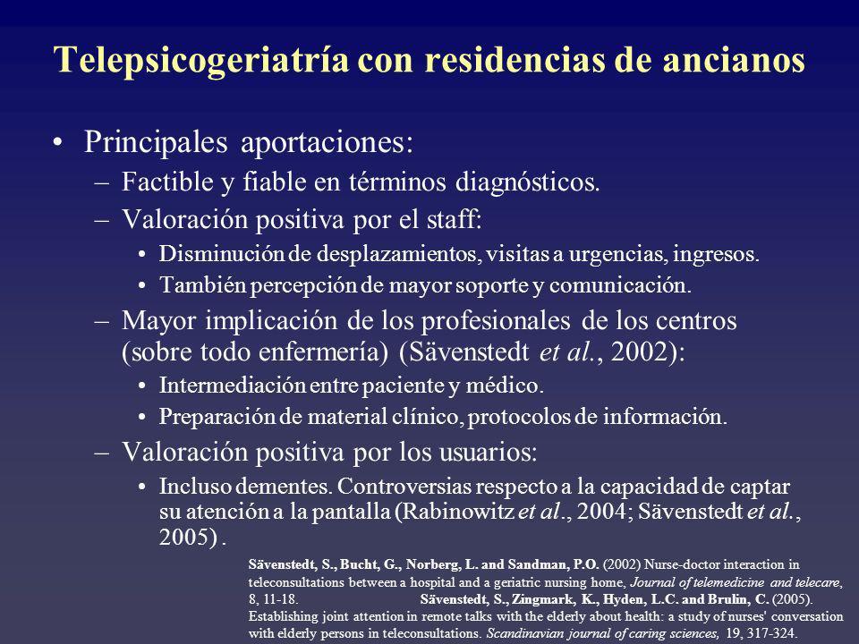 Telepsicogeriatría con residencias de ancianos