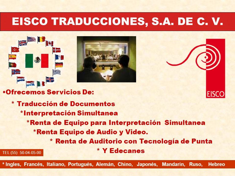 EISCO TRADUCCIONES, S.A. DE C. V.