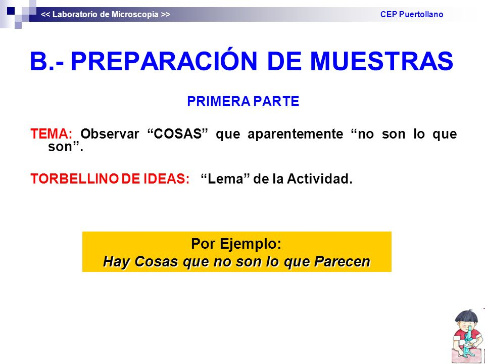 B.- PREPARACIÓN DE MUESTRAS