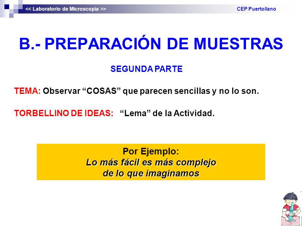 B.- PREPARACIÓN DE MUESTRAS Lo más fácil es más complejo