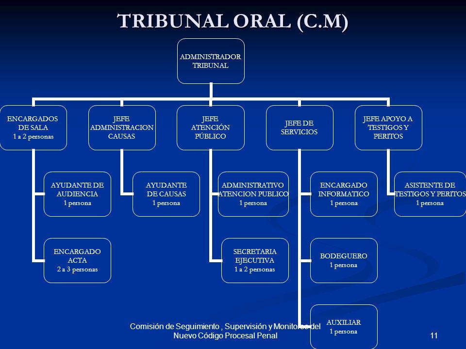 TRIBUNAL ORAL (C.M) Comisión de Seguimiento , Supervisión y Monitoreo del Nuevo Código Procesal Penal.