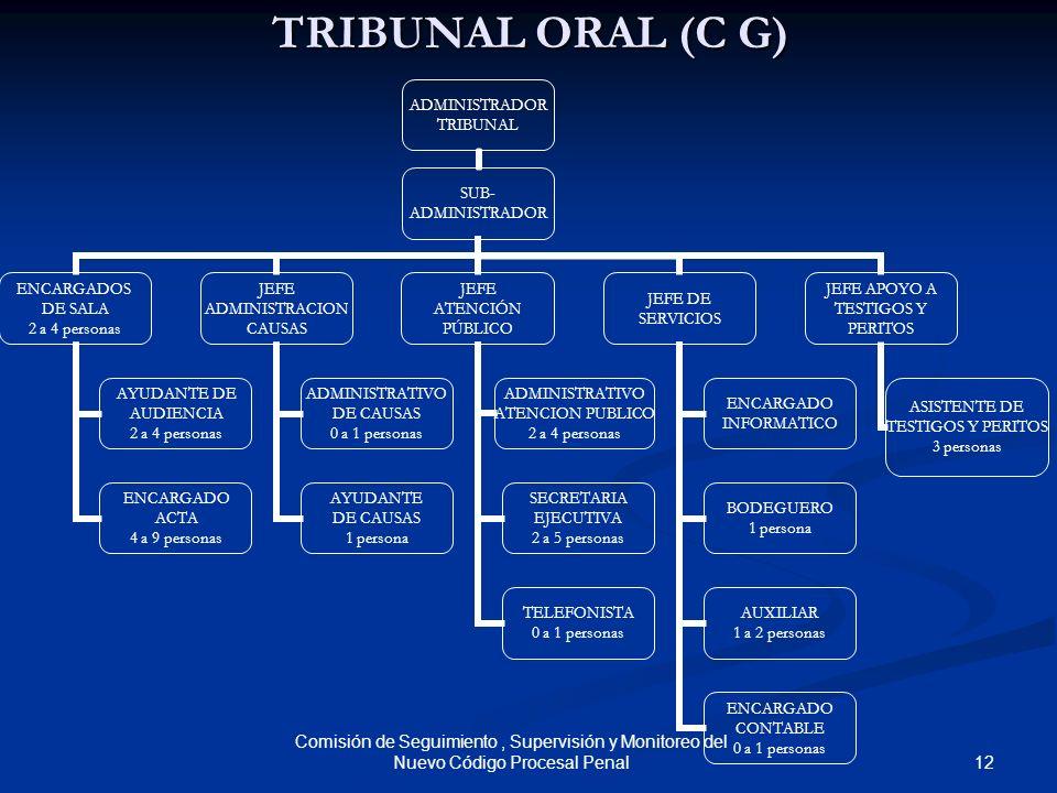 TRIBUNAL ORAL (C G) Comisión de Seguimiento , Supervisión y Monitoreo del Nuevo Código Procesal Penal.