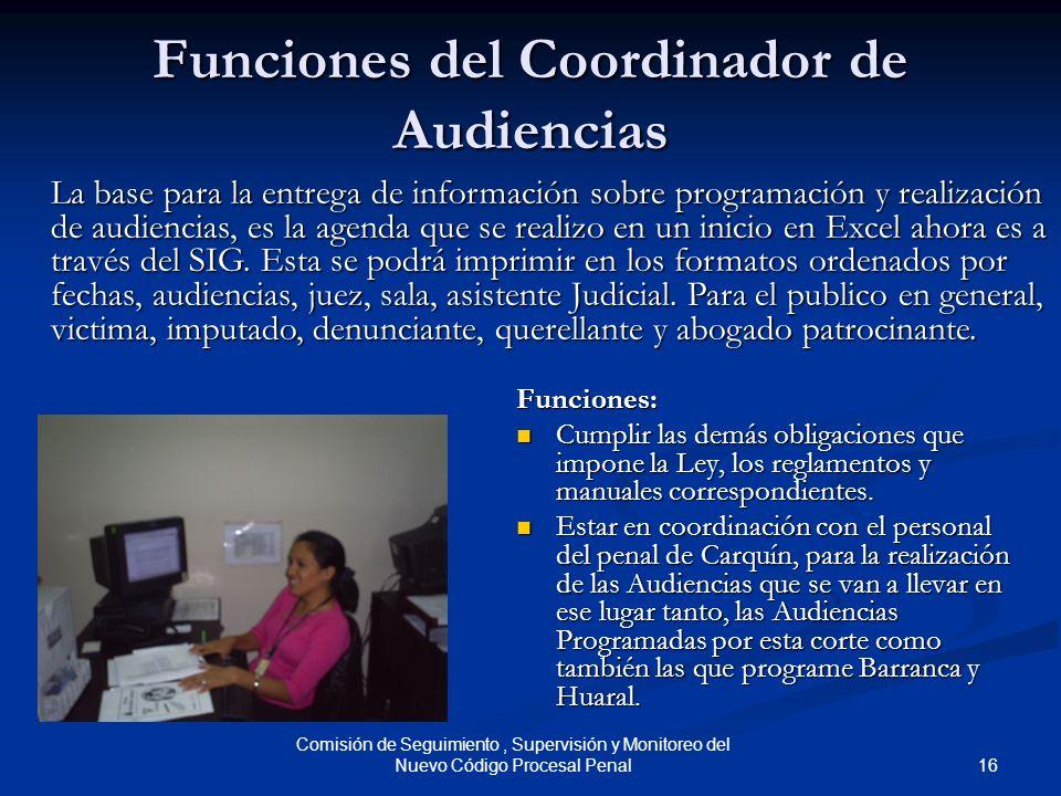 Funciones del Coordinador de Audiencias