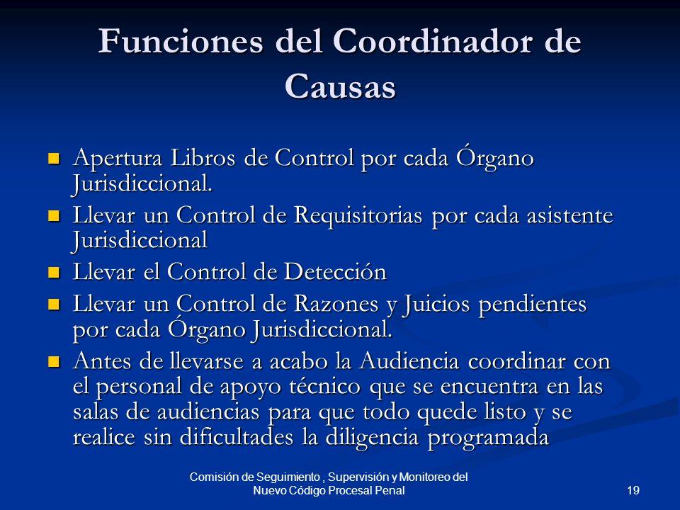 Funciones del Coordinador de Causas