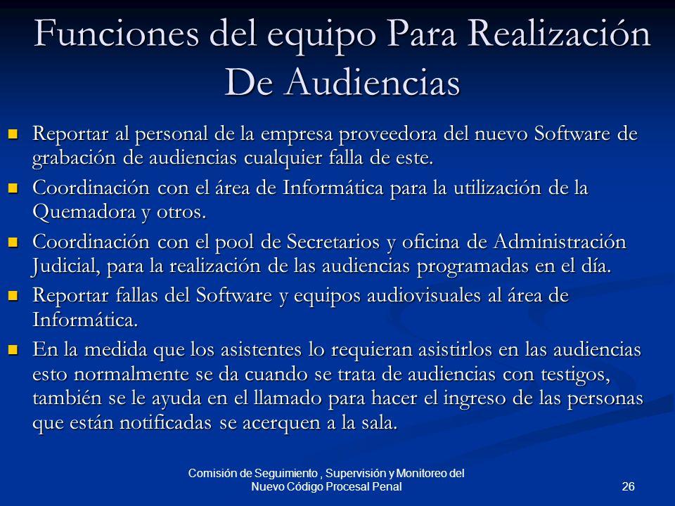 Funciones del equipo Para Realización De Audiencias