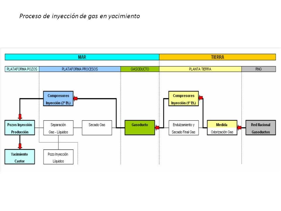 Proceso de inyección de gas en yacimiento