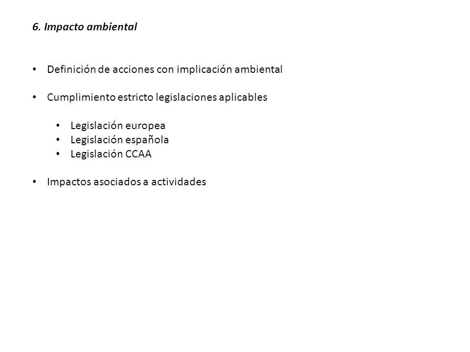 6. Impacto ambiental Definición de acciones con implicación ambiental. Cumplimiento estricto legislaciones aplicables.